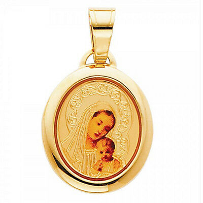 """14K Solid Gold """"Virgin Mary and Baby Jesus"""" Picture Charm Pendant"""