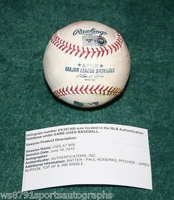 Paul Konerko game used RBI single baseball Chicago White Sox ball w/ COA