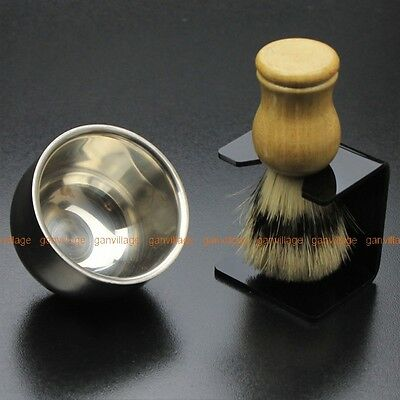 Badger Bristle Shaving Brush + Stainless Steel Bowl Mug + Brush Stand Barber Set