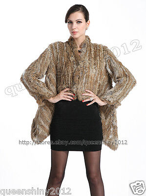 NEW!!100% Real Knitted Rabbit Fur Coat Jacket Wearcoat Sweater Fashion Hot Brown