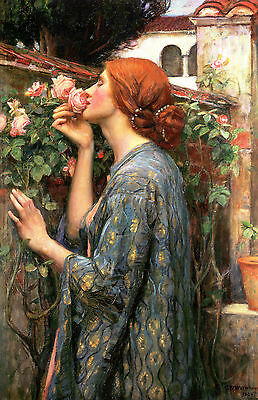 "John W Waterhouse :: The Soul Of The Rose :: 24"" Pre-Raphaelite Canvas Art Print"