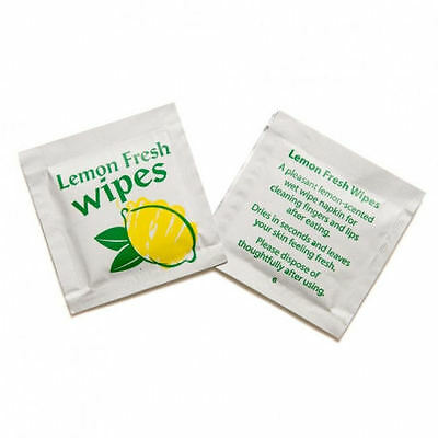 100 x Lemon Scented Handy Hand Wipes Moist Wet Wipe Individual Wrapped Takeaway