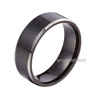 6mm 8mm Black Stainless Steel Plain Comfort Fit Wedding Band Ring Size 5-15 HS13