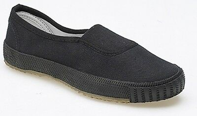 New Boys Girls Unisex Black Canvas School Shoes PE Pumps Plimsoll Plims Slip On
