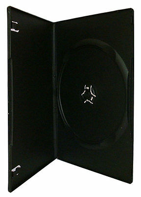 100 x Single DVD Case Cases 7mm Spine Slimline Black Clear Front Cover Sleeve