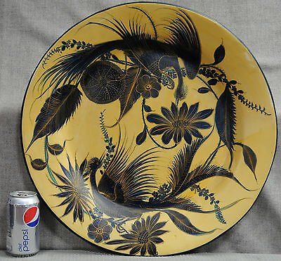 Mid 20th century Mexican hand painted hand thrown pottery charger platter 20½""