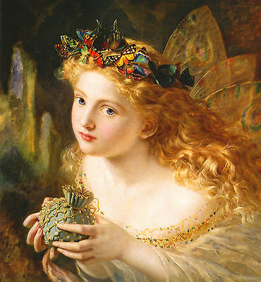"""Sophie Anderson :: Fairy With Butterfly Crown :: 24"""" Faery Canvas Fine Art Print"""