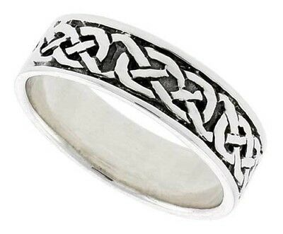 Mens 6mm 925 Sterling Silver Abstract Celtic Knot Wedding Band Thumb Black Ring