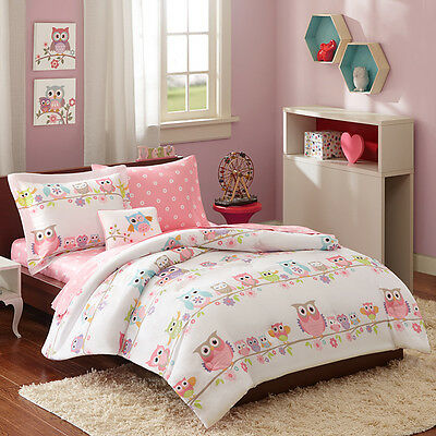 Cute Pink Purple White Blue Polka Dot Bed In A Bag Girls Comforter Set & Sheets