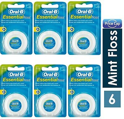 6 X Oral B Floss Essential Mint Waxed MINT DENTAL 50M  WAX, Same Day Ship
