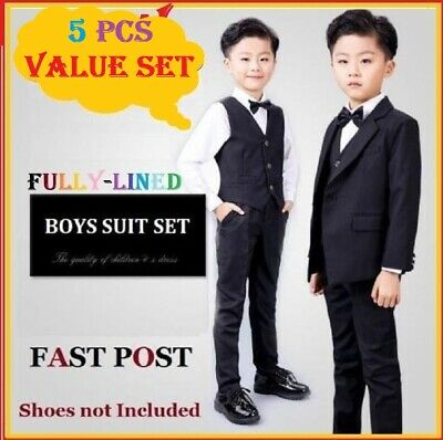 5 pcs fully-lined Black Boys Formal Wedding Suits Set Size 2,3,4,5,6,8,10,12,14