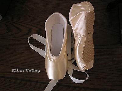 New Satin Ballet Pointe Shoes - New-Lots of Sizes - sz 1M 2M 3M 4M 5M
