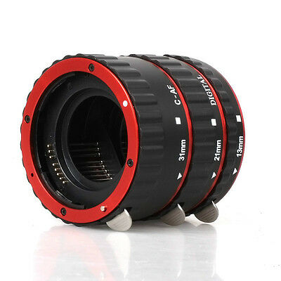 Red Auto Focus Macro Extension Tube for CANON EOS EF-S 1DX 7D 6D 5D Mark III/II