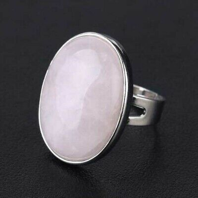 Silver Plated Amethyst Rose Quartz Agate Stone Oval Shape Adjustable Finger Ring