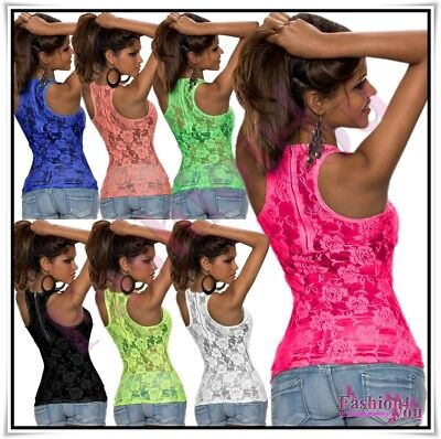 Lace Top Sexy Women's Ladies Summer Casual Floral T-shirt ONE SIZE 6,8,10,12 UK