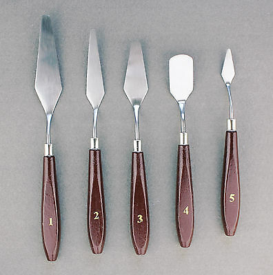 5 Wood Handles Stainless Steel Painting Knives Spatula Palette Mixing Scrape Set