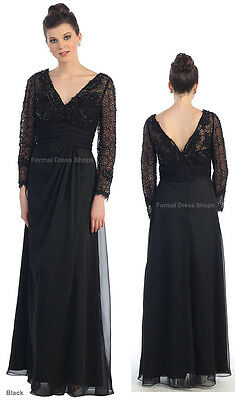 SALE ! LONG SLEEVE MOTHER of the GROOM BRIDE EVENING DRESS FORMAL PLUS SIZE GOWN