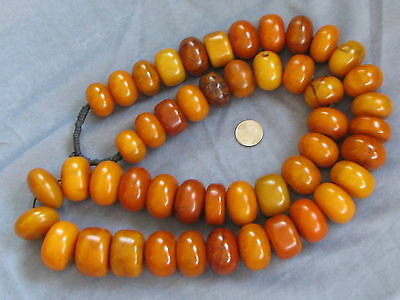 """46"""" Necklace Antique Butterscotch Amber Egg Yolk African Trade Beads Phenolic"""