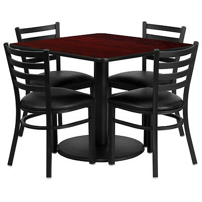 """36"""" Square Mahogany Laminate Top Restaurant Table Set with 4 Chairs Black Vinyl"""
