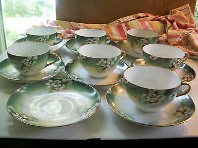 Vintage Royal Austria O & E.G. tea cups and saucers blossom hand painted set 7