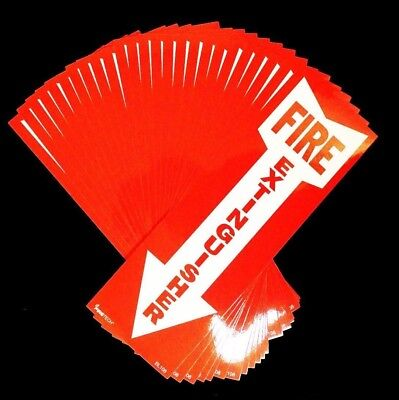 """Lot Of 25-(4"""" X 12"""") Self-Adhesive Vinyl """"Fire Extinguisher Arrow"""" Signs..new"""