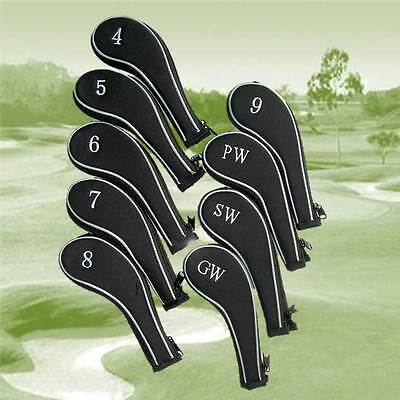9 Longneck Zipped Neoprene Golf Club Iron Covers 4-PW, SW, GW Right or Left hand