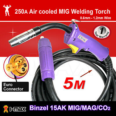 Binzel 15AK MIG/MAG/CO2 Welding Torch Euro Connector 5M 5 metre
