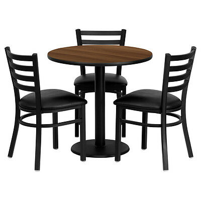"""30"""" Round Walnut Laminate Top Restaurant Table Set with 3 Metal Chairs"""