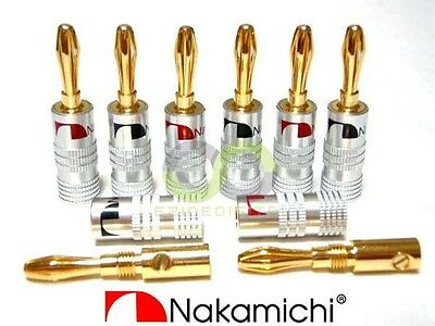 4X 24K GOLD-PLATED Speaker Wire Nakamichi Pin Connectors Banana Plug ...