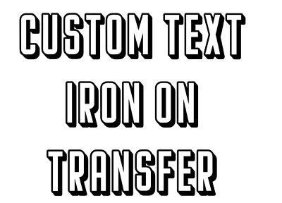 Custom Text Iron On T Shirt Transfer Personalised UK Flag Union Jack Font Dark