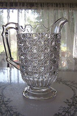 19th CENTURY EAPG PITCHER CO-OPERATIVE FLINT GLASS CURRIER & IVES EULALIA