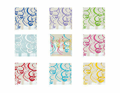 12 HANGING SWIRL PARTY DECORATIONS Birthday Christening Engagement Wedding