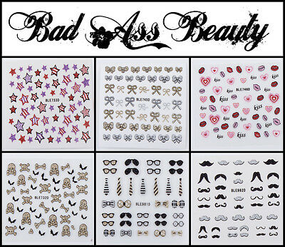 Glitter Bows Moustache Flowers Stars Skulls Lips 3D Nail Art Stickers UV Decals