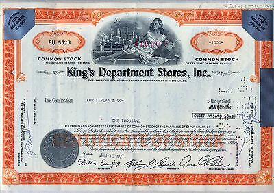 King's Department Stores, Inc. Stock Certificate Orange
