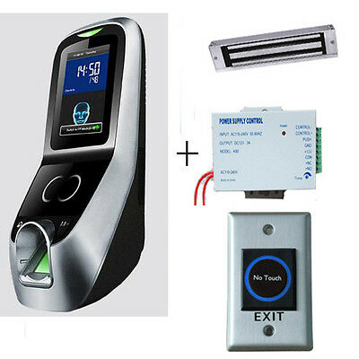 Facial+fingerprint access control system kit PSU,magnetic lock and exit button