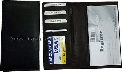 Woman/Man's Leather Checkbook cover 4 bill pockets coin purse 7 card Plus ID BN