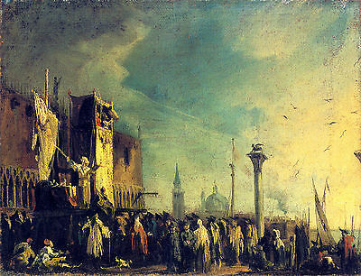 Canaletto :: A Puppet Show On The Piazzetta :: 24 Inch Canvas Fine Art Print