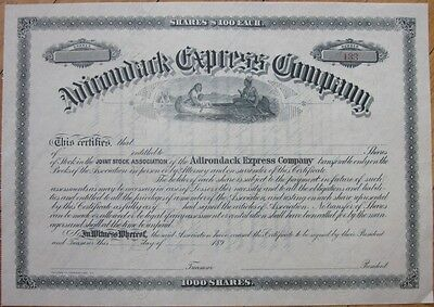 1890s Stock Certificate: 'Adirondack Express Co.' - Native Americans in a Canoe