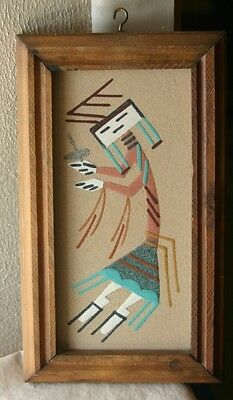 NAVAJO INDIAN SAND PAINTING  IN WOOD WOODEN FRAME