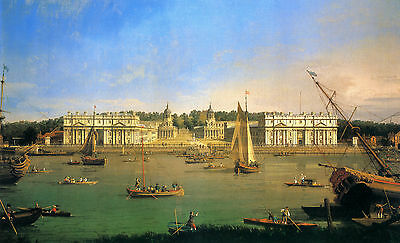"""Canaletto : Greenwich Hospital From The North Bank Of Thames : 24"""" Canvas Print"""
