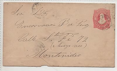 ARGENTINA PRESTAMPED COVER. RED EMBOSSED 8c. CANCELLED 1890?