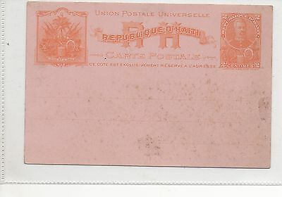 HAITI PRESTAMPED POSTCARD ORANGE 2c.