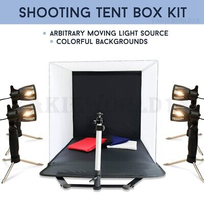LARGE 50CM Cube Photo Studio Soft Box 4 Light Tent Softbox Lighting Backdrop Kit