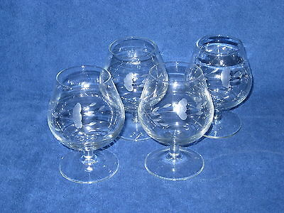 Princess House Heritage Handcut Brandy Glass - #404 set of 4 glasses - NEW