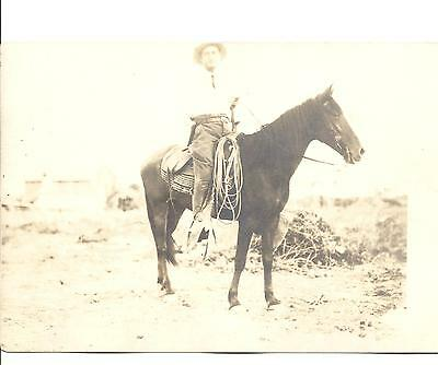 """ANTIQUE 3 1/2"""" X 5 1/2"""" PHOTO WESTERN COWBOY IN LEATHER CHAPS BROAD BRIM HAT"""