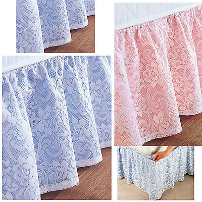 Samantha Lace Elasticated Bed Valance - Cream, Blue & Pink NOW £9 TO CLEAR