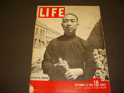 Life Magazine , December 13, 1943, Citizen of Sinkiang , WWII,Great Ads/Graphics