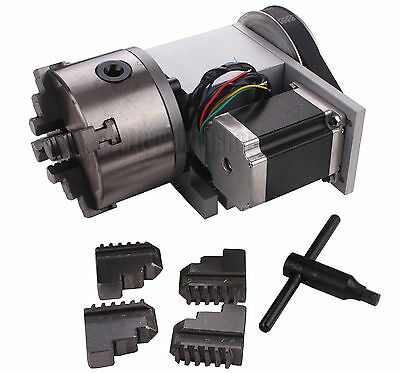 CNC Rotary Table 4th Axis Router Rotational Axis A axis 4 Jaw 100mm Chuck 6:1