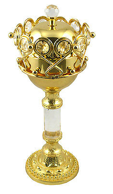 Gold Metal Decorative Arabian Charcoal Resin Incense Burner - 23cm High