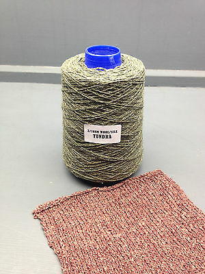 200G 50% Wool 50% Silk Yarn Green Mix 2/10Nm Tundra